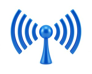 Wireless network sign. 3D symbol isolated